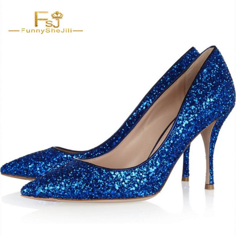 Women s Fashion Royal Blue Heels Cone Heels Pointy Toe Glitter Pumps Green Ladies  Slip On Shining. US  67.49. FSJ ... 55914a6239d0