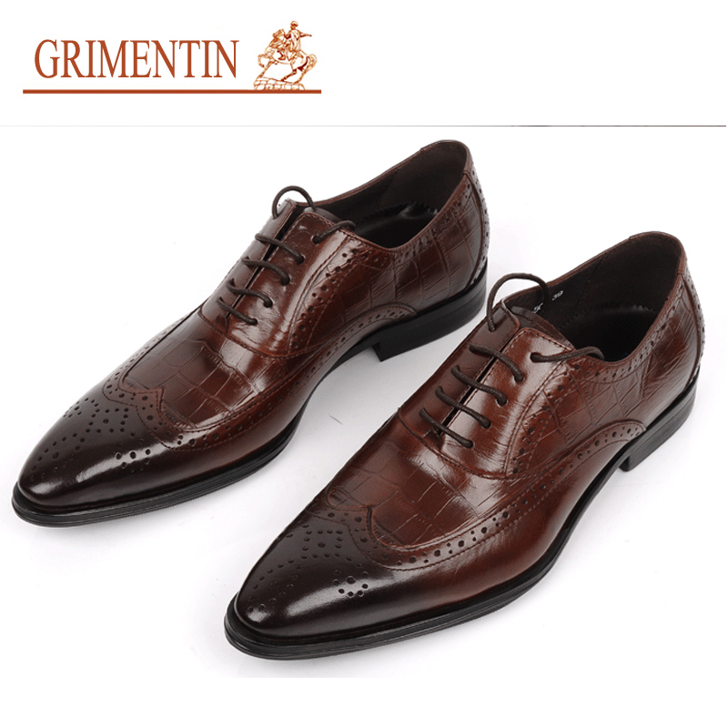 61b83ea1cd US $135.0 |GRIMENTIN Brand genuine leather mens wedding shoes crocodile  style black brown Italian men formal shoes-in Formal Shoes from Shoes on ...