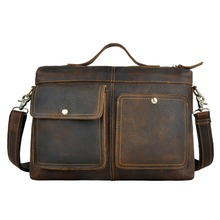 High quality crazy horse leather cowhide genuine leather male business casual vintage 12 computer briefcase