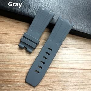 Image 4 - 28mm Soft Black White Green Yellow Orange Gray Blue Red Silicone Rubber Watch Strap Bracelet For AP ROYAL OAK Watchband Belt
