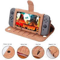 NS Flip Leather Case Wallet Protective Cover for Nintend Switch Gamepad 10 Card Holeders & Stand Function Joy Con Case