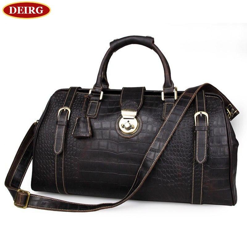 цена  Men's Travel Bag Head Layer Cowhide High - Grade Crocodile Retro style Bags Tote Trip Bag For Male Chocolate #PR087281  онлайн в 2017 году