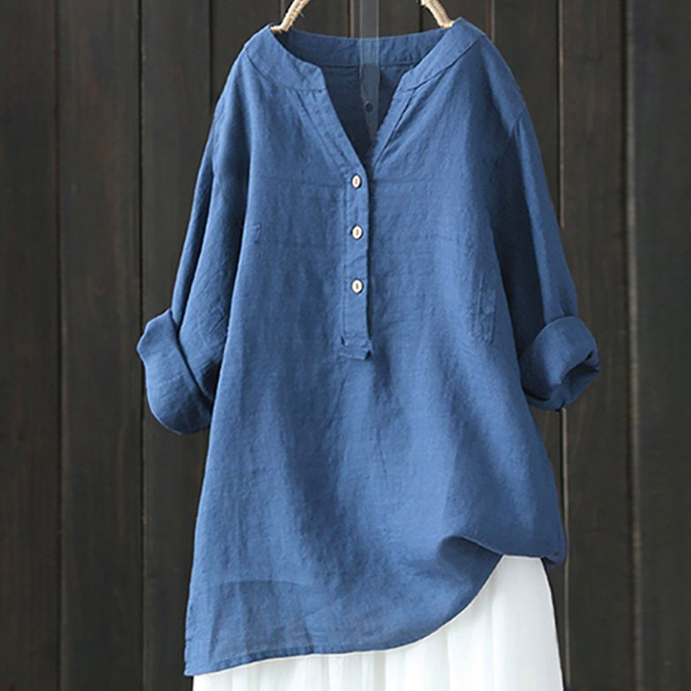 Sumemr Women Long Sleeve Solid Top button Irregular Hem   Shirt   Loose Cotton Linen   Blouse   Femininas Vintage Blusa Plus Size