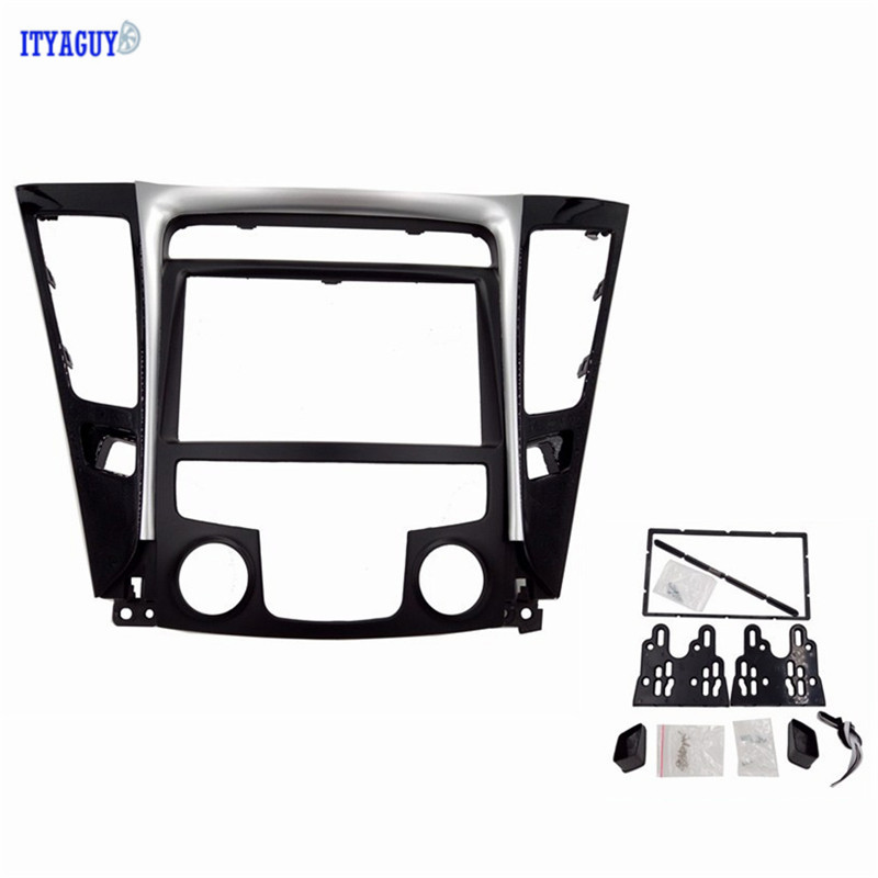 2DIN Fascia For Hyundai Sonata YF 2010 LHD/ RHD Low End Car Radio Stereo Frame Panel Dash Mount Kits UV Black Silver silver car 2din stereo panel fascia radio refitting dash trim kit for ford focus 98 04 rhd fiesta 95 01 rhd ca5038