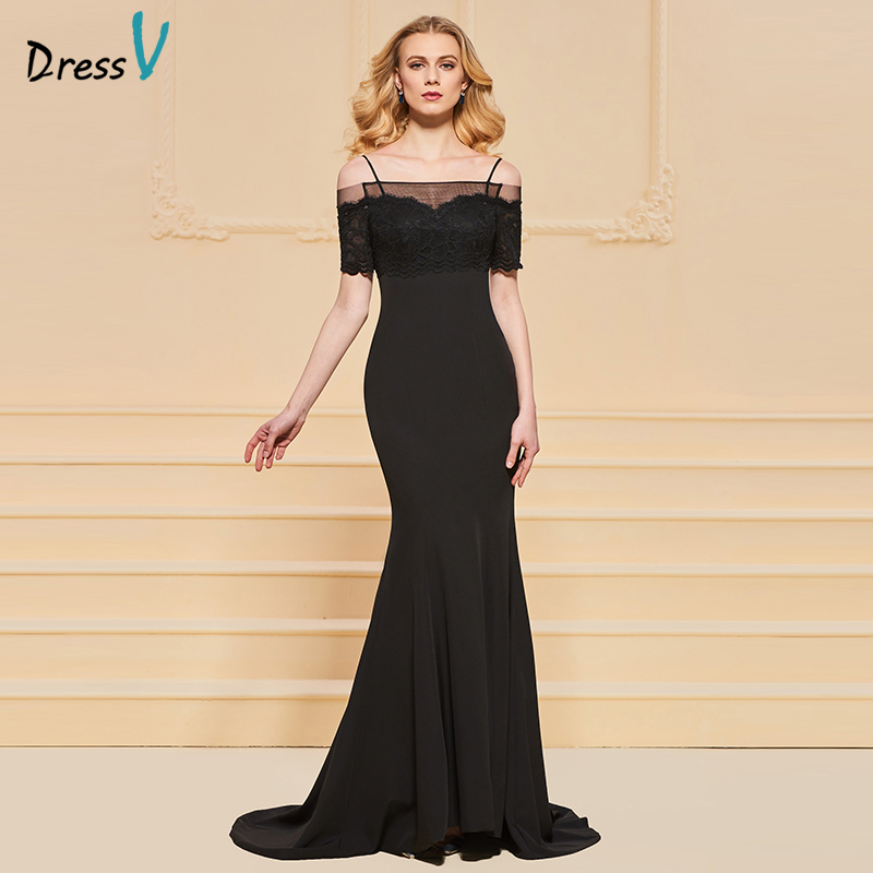 Dressv Black Evening Dress Spaghetti Straps Short Sleeves Mermaid Lace Floor Length Wedding Party Formal Dress Evening Dresses