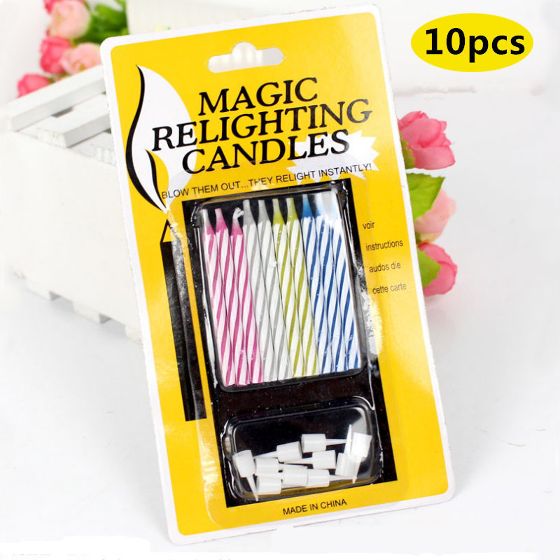 10PC/set Magic Birthday Cake Thread Blowing Prank Funny Tricky Novelty Gag Toys Party Eternal Candle