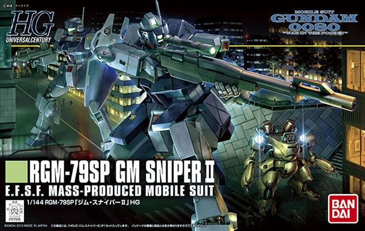 1PCS bandai  HGUC 146 1/144 RGM-79SP GM Sniper II Gundam Mobile Suit Assembly Model Kits Anime action figure lbx toys rat model ii folder sp black handle