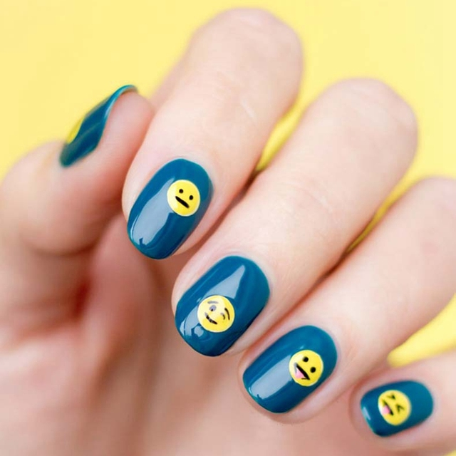 Cute Emoji Nail Art Design Nail Gel Polish Smile Laughing Face Style ...