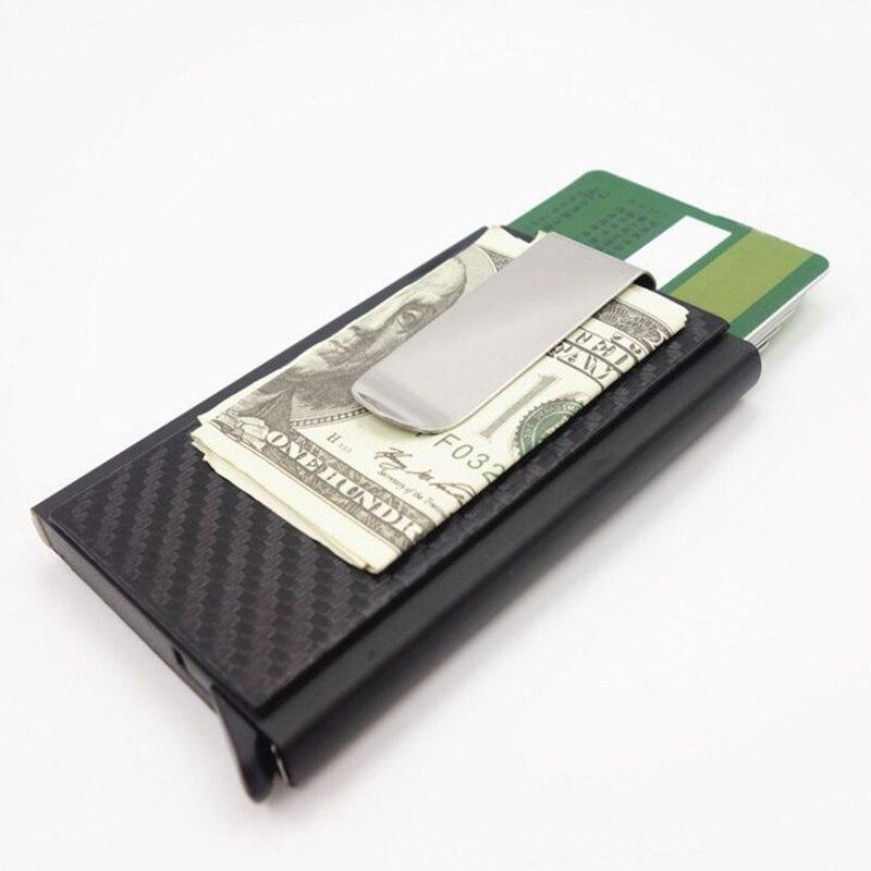 2019 Mini Slim Wallet Slide Card Case Carbon Fiber PU Leather RFID Wallets Aluminum ID Credit Card Holder with Cash Clip slide wallet
