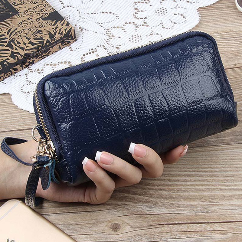 PERDREAM Genuine Leather Woman Wallet Fashion Solid Coin Purses Casual Long Card Hodler Cowhide Leather Clutch Bag wallet