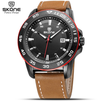 2017 Luxury Brand SKONE Men Military Sports Watches Mens Quartz Date Clock Man Casual Leather Wrist