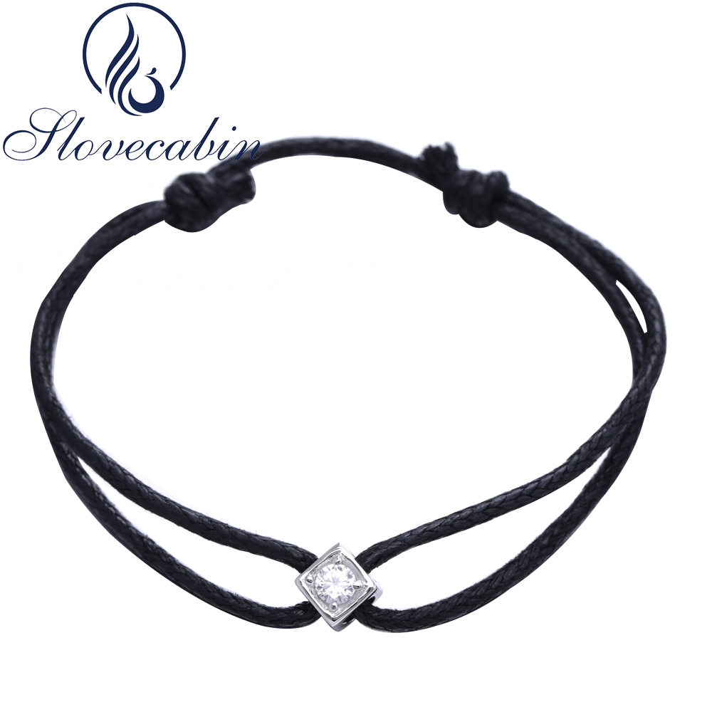 Slovecabin Vintage Bracelet En Argent D'origine 925 En Argent Sterling Bulles Noir Corde Bracelet Pour Les Femmes De Mode De Luxe Bijoux