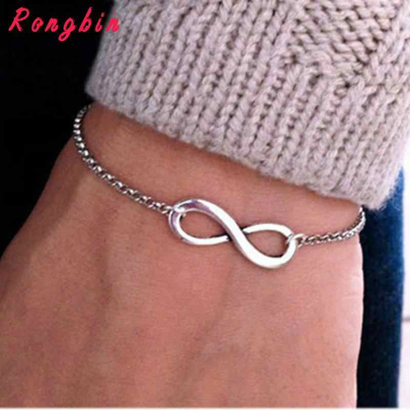 2017 Fashion Gold Silver Chain Luck Infinite Charm Bracelet Women Bracelets For Women pulseira feminina pulsera pulseras Simple