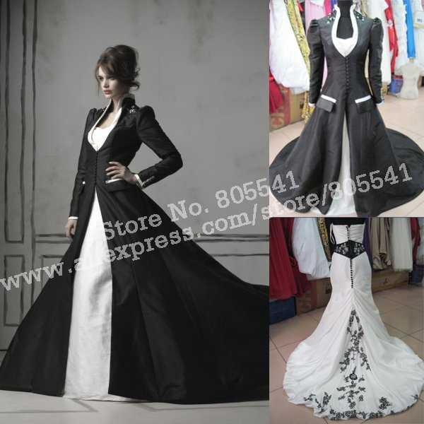 100 Real Photo Classical Ball Gown Taffeta Embroidery White Wedding Dress With Black Jacket ALJX