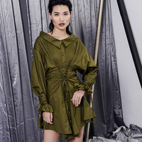 Celebrity Same Style Fashion Drawstrings Waist And Sleeve Women Dress Casual Trending Dress