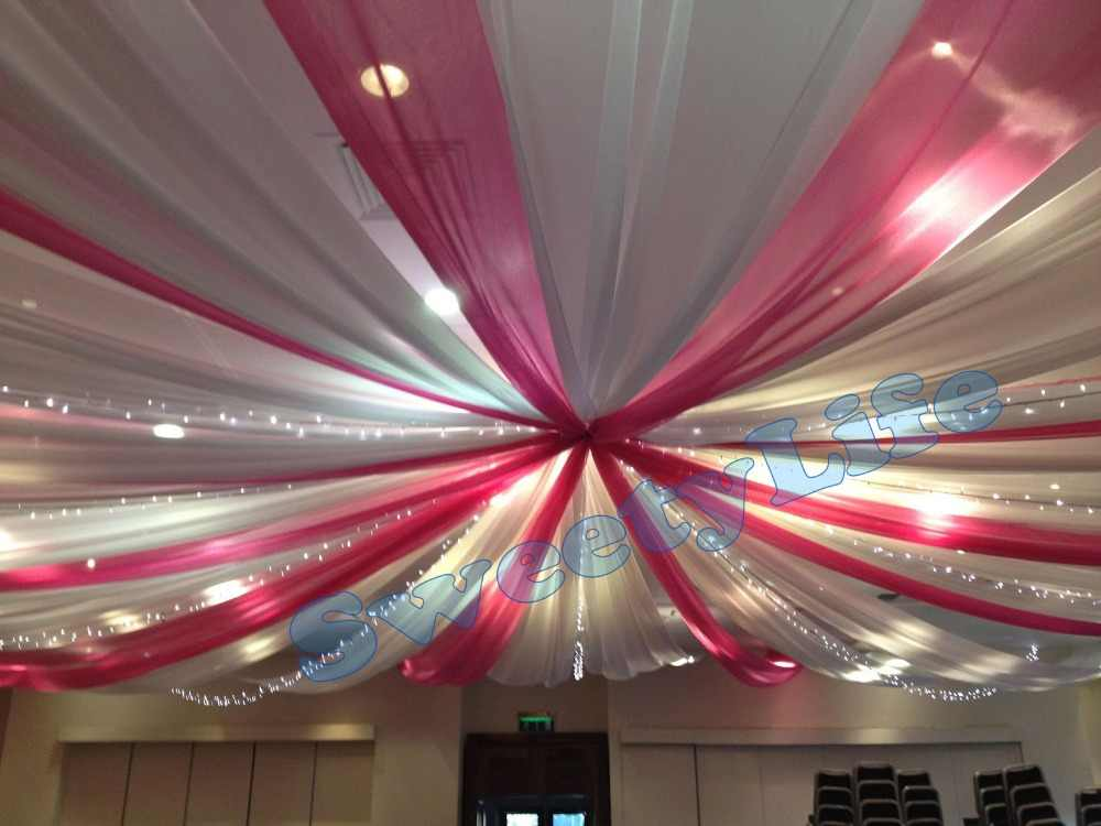 Wedding 12 Pieces Ceiling Drape Canopy Drapery For Decoration Color Mixture White And Fuchsia Roof Decoration Banquet Supply