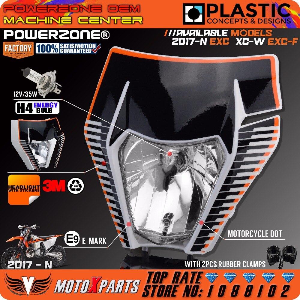 Powerzone мотоцикла Байк мотокросс фара + 3 м стикер маска для KTM 6 дней отл xcw excf SX F 125-500 2017 18