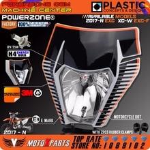 Powerzone Motorcycle Dirt Bike Motocross Headlight Headlamp + 3M Sticker Mask For KTM 6days EXC XCW EXCF SX F 125 -500 2017 18