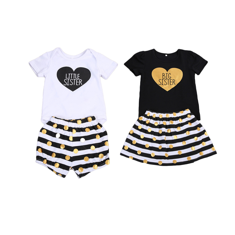 Baby Girls Sister Matching Big//Little Love Romper Pants Valentine/'s Gift Outfits