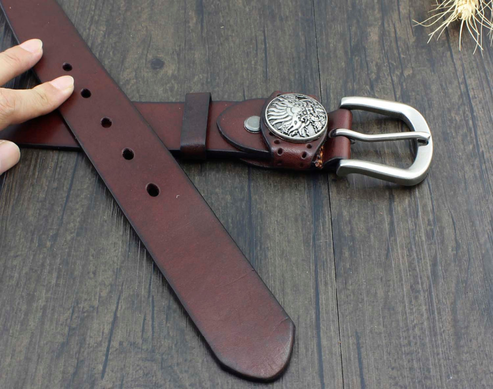 Jeans Vintage Metal Concho Buckle Casual Mens Genuine Leather Belt Brown