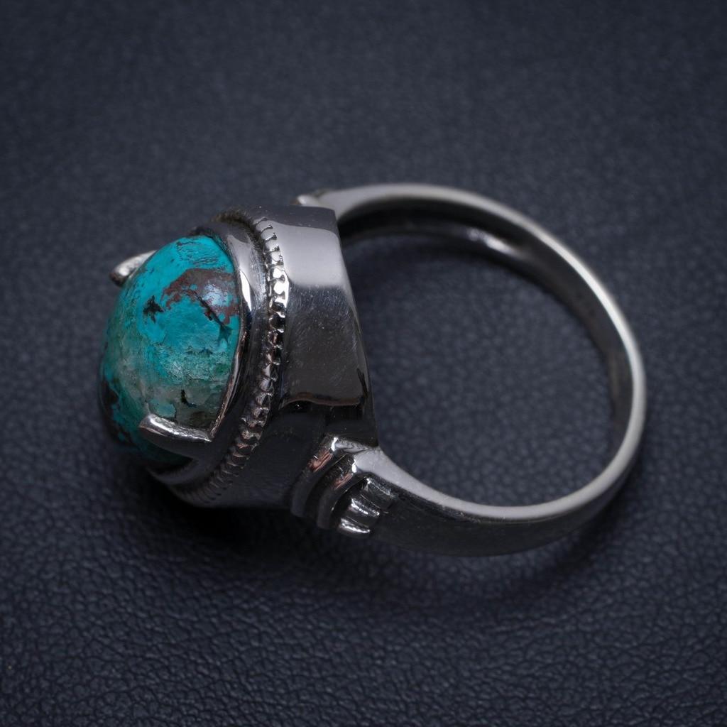 Natural Chrysocolla Handmade Boho 925 Sterling Silver Ring, US Size 8.5 S2289Natural Chrysocolla Handmade Boho 925 Sterling Silver Ring, US Size 8.5 S2289
