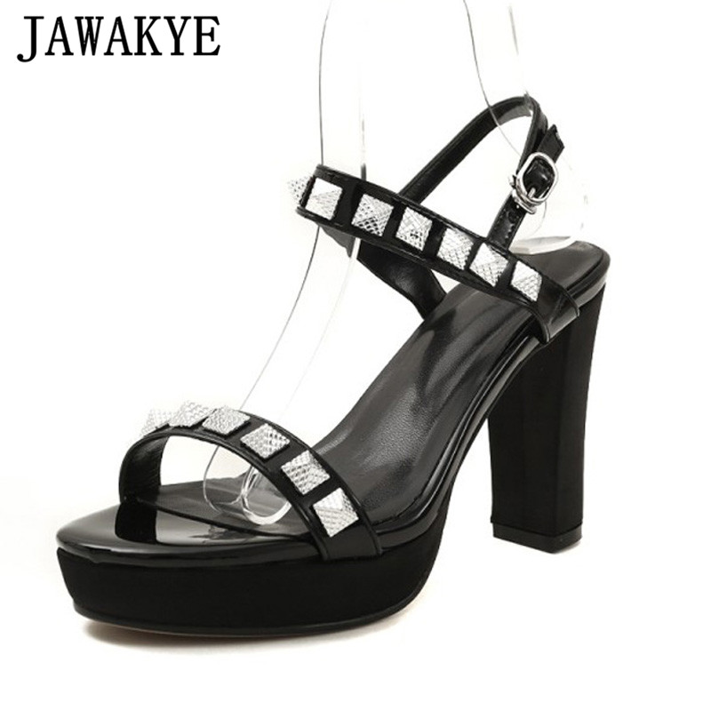 где купить Newest patent leather gladiator sandals women platform 9 cm high heels ankle strap rivets studded summer shoes sandalias mujer по лучшей цене