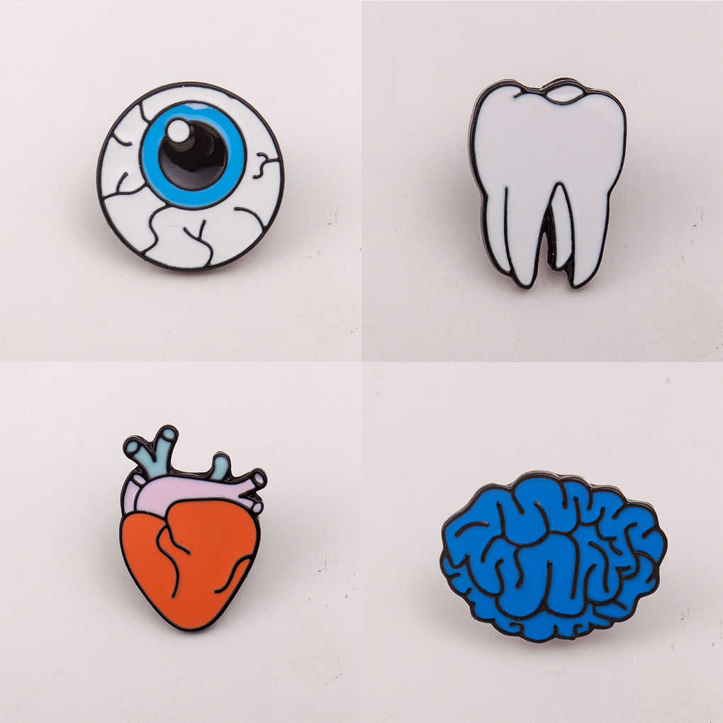 Otak Mata Gigi Jantung Bros Pin Wanita Gadis Kartun Bros Organ Tubuh Manusia Korsase Bros Lencana Sebagai Hadiah