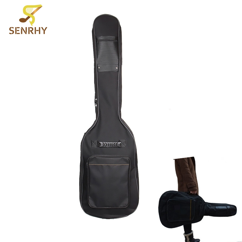 120cm Padded Double Zipper Double Strap Nylon Guitar Bag Soft Case Electric Acoustic Bass Guitarra Bag Accessories+10 Picks 40 41inch acoustic classical guitar bag case backpack adjustable shoulder strap portable 4mm thicken padded black