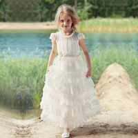 New Coming Princess Dress Lace Flower Girl Dress for Wedding Birthday Party Girls Formal Wears Holy First Communion Gowns