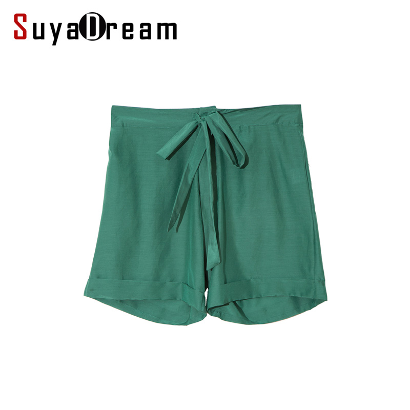 Women Silk Cotton Shorts 30%Real Silk 70%Cotton Green Belted Waist short pants 2017 Spring Summer New