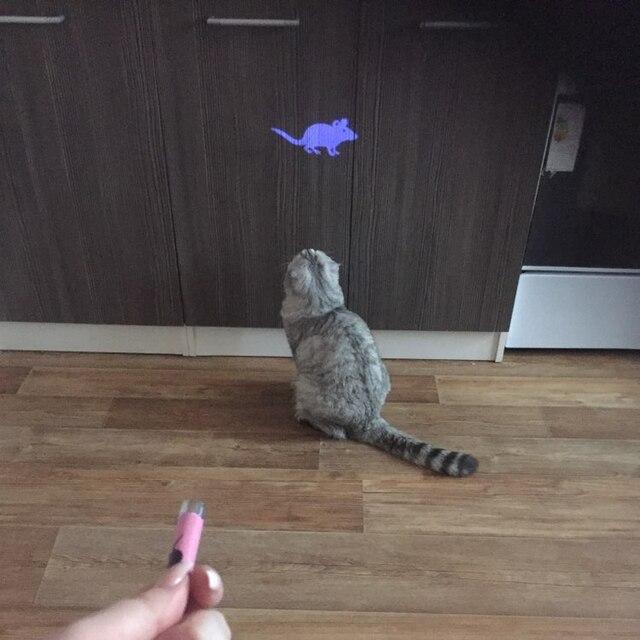 צעצועי חתול צעצוע חתול יצירתי ומצחיק להפליא עכבר אנימציה אור LED פוינטר עט עם בהיר
