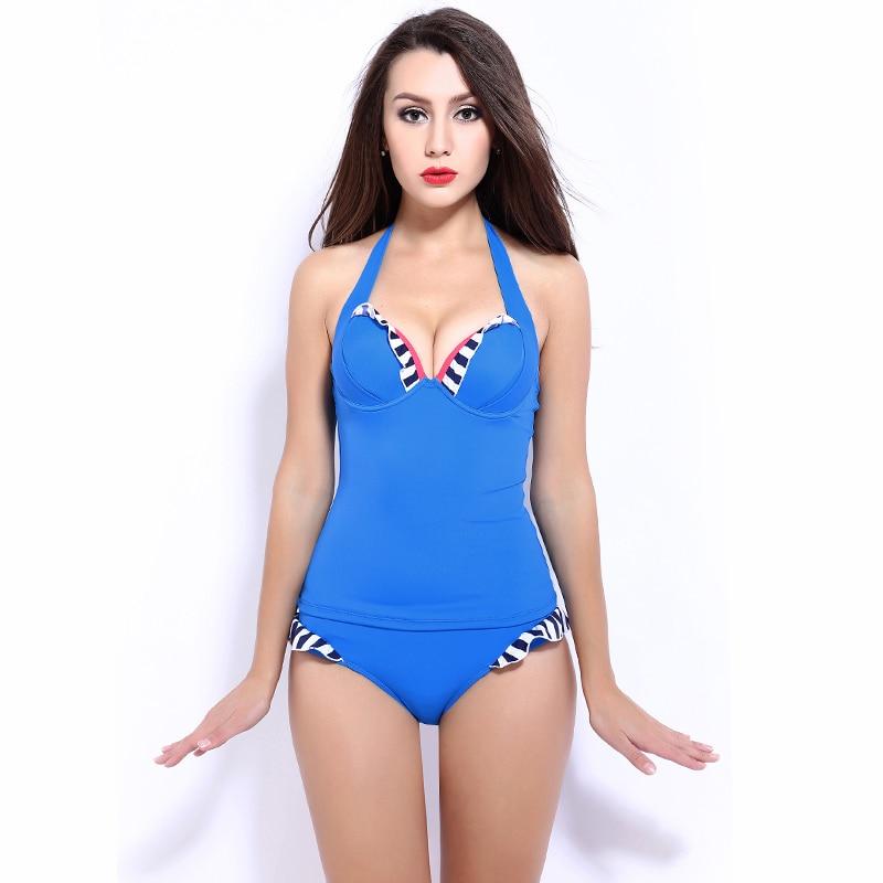 ФОТО Candies Figure Flattering Durable Flexible Solid Women Swimwear One Piece Push Up Blue Bikini Set Swimsuit Biquini
