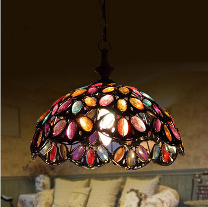 Metal Glass Tiffany Led Pendant Lights Colorful Hanging