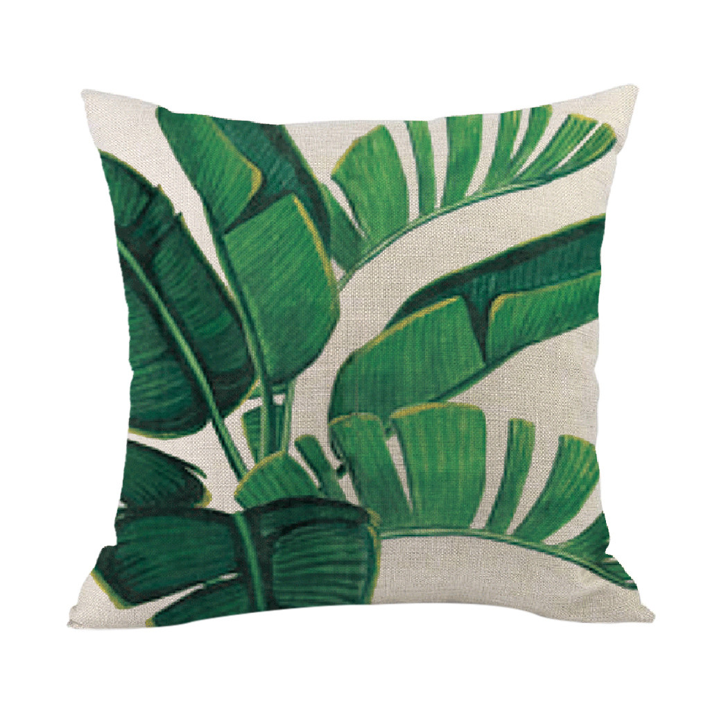 Image 2 - Green forest pillowcase Comfortable fabrics Tropical plant polyester pillowcase sofa throwing pad set home decoration 2019 Hot-in Cushion Cover from Home & Garden