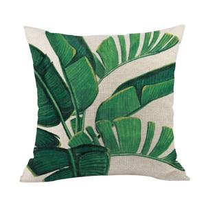 Image 2 - Zielony las poszewka na poduszkę wygodne tkaniny tropikalnych roślin poliester poszewka na poduszkę sofa rzucanie pad zestaw do dekoracji wnętrz 2019 Hot