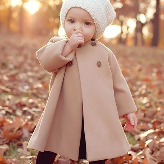 Jackets Winter Coat For Girl Manteau Fille New Fashion Girls Jacket Double-Breasted Woolen Kids Jacket O-Neck Girls Coats