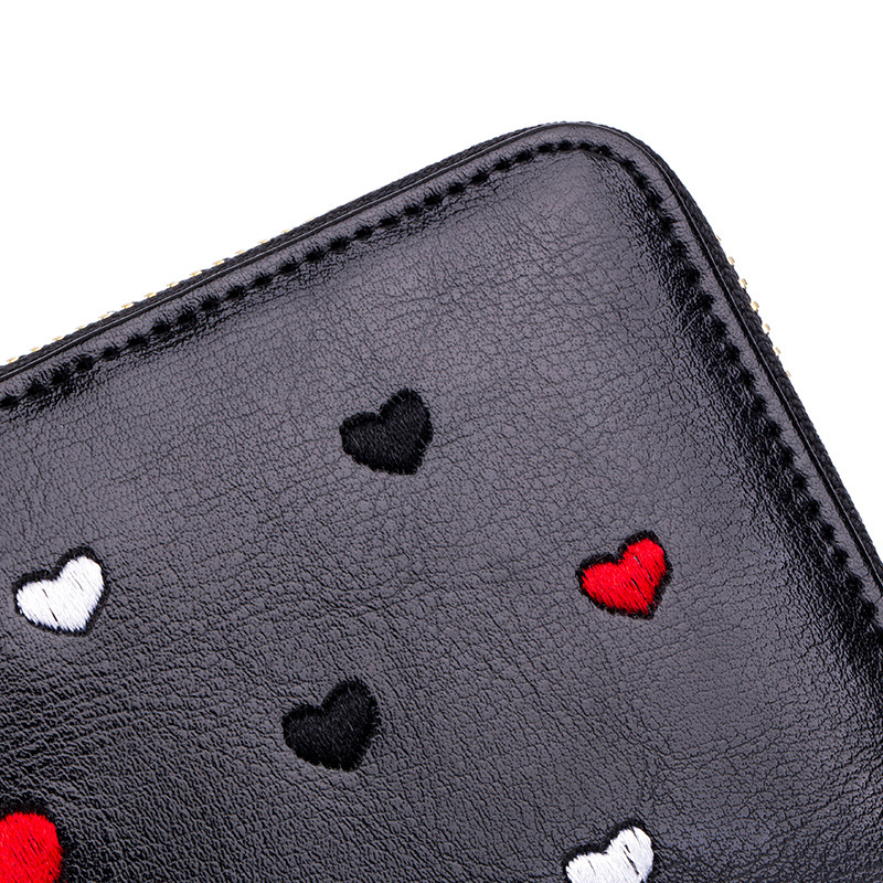 New Fashion Heart Pattern Genuine Leather Women Long Wallets High Quality Female Luxury Brand Clutch Girl Ladies Gift Cash Purse