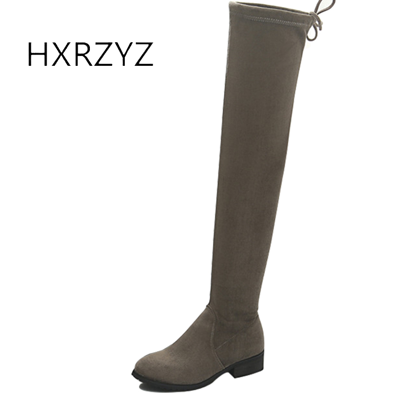 HXRZYZ over the knee high boots soft suede stretch boots autumn and winter female fashion round head low heeled warm women shoes цены онлайн