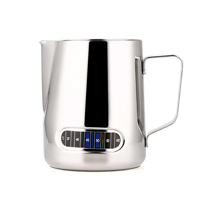 Stainless Steel Milk Frothing Jug Barista Coffee Pitcher With Thermometer -Make Perfect Froth For Your Cappuccino Coffee 550ml