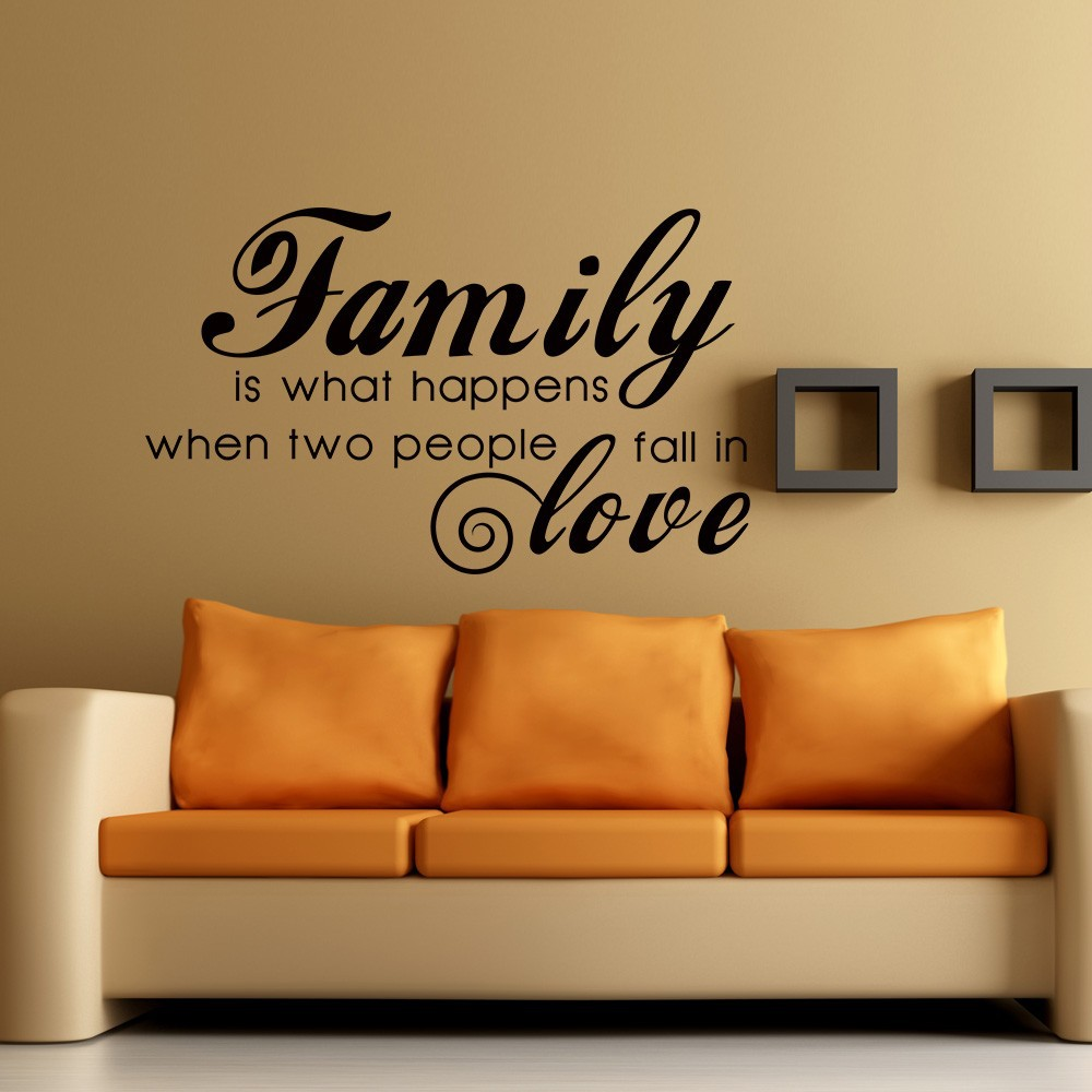 "Family is what happens when two people fall in love Love Wall Decal Quotes Vinyl Wall Quote Sticker 34"" x 21"" S in Wall Stickers from Home & Garden on"