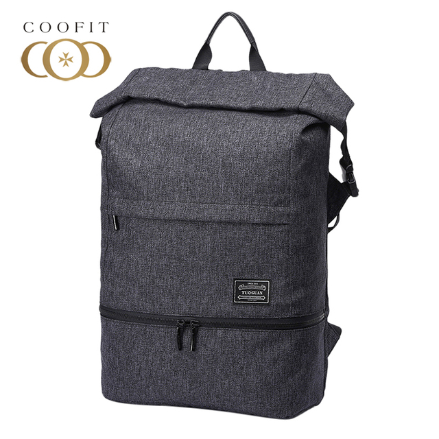 Coofit Casual Anti-Theft Mens Backpack Large Capacity Waterproof Canvas  Laptop School Bagpack Travel Backpack For Male Boys Teen 3249cd3c548bc