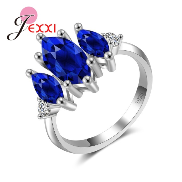 JEXXI Wedding Rings Fashion Royal Blue Oval Crystal Engagement Ring