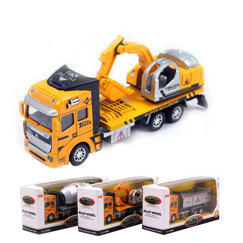New 3 PCS 1 48 Pull Back Construction Vehicles Excavator Car Truck Metal font b Toy