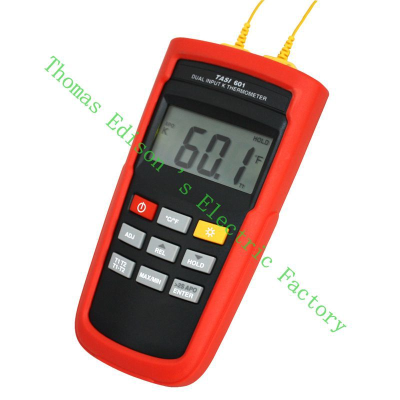 TASI-601 Range -200 to 1372 Degrees Celsius K-TYPE Dual Channel Thermocouple Thermometer Adjust thermocouple offset meter az 8811 waterproof k type thermocouple thermometer with measuring range 200 1300c