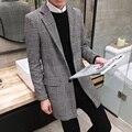 Plus size M-5XL 2016 Outono Nova Moda Coreano Homens Do Revestimento jaqueta Slim Fit Mens Xadrez Casaco Longo Casaco de Trincheira Dos Homens maré