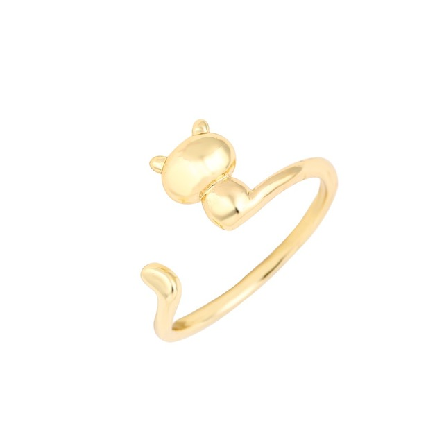 yiustar New Fashion Adjustable Brass Animal Rings For Women 3D Cat Finger Rings