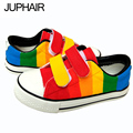 JUP Men Males's canvas shoes hand-painted Rainbow Striped  Hook & Loop Love low Single Cow Muscle Casual Gift Footwear Students