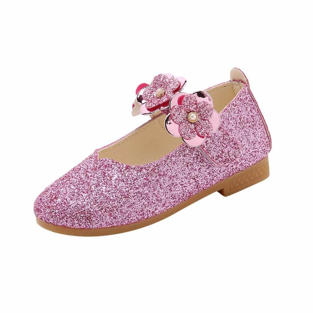 Crianças festa sandálias de moda meninas flores lantejoulas princesa sapatos meninas material do plutônio sandálias velcro toda a temporada 2019 novo