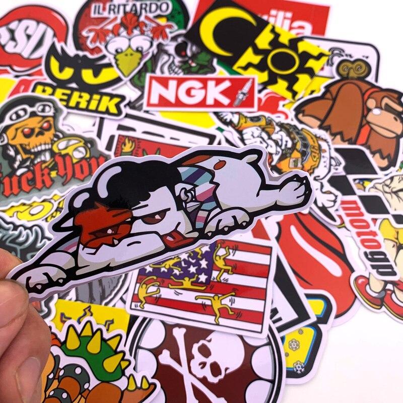 40Pcs Cartoon Car Stickers Motorcycle Decal for Helmet Luggage Skateboard Bicycle Mobile Phone Rossi JDM AKRAPOVIC YOSHIMURA 5