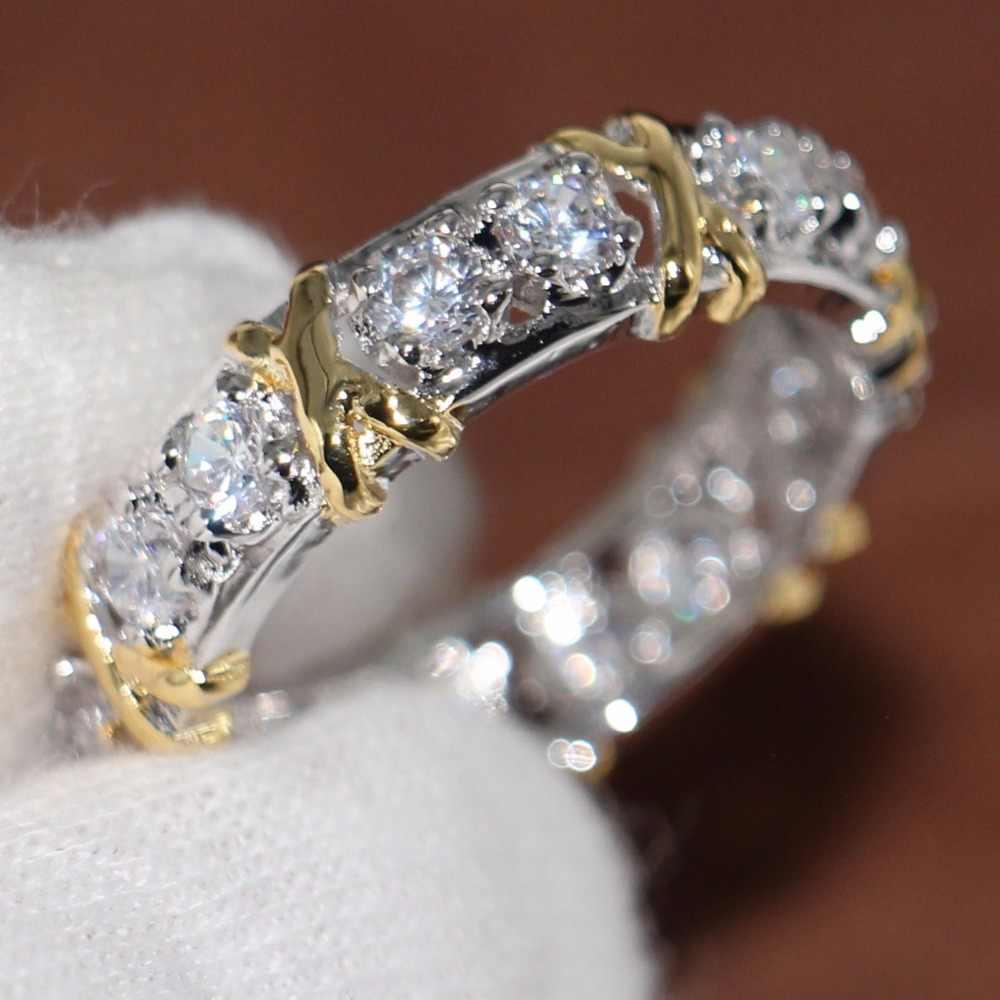คนรัก'แหวนสำหรับผู้หญิงประกายแฟชั่นเครื่องประดับ10KT W HITE & G Oldเต็มไปล้าง5A Z Irconia CZ Enternityแต่งงานวงนิ้วแหวน